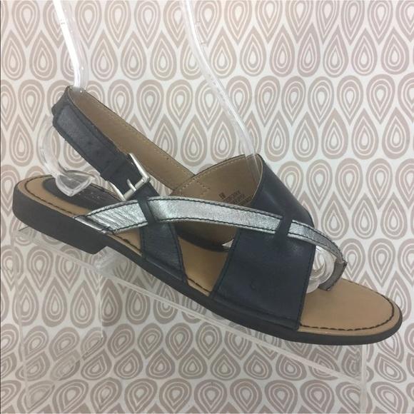 bb1fa498cbd Born Boc Black Silver Thong Sandal Sz 9 M S517